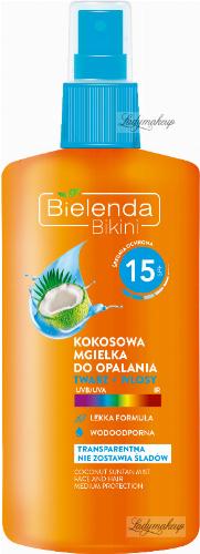 Bielenda - Bikini - Kokosowa mgiełka do opalania w sprayu - Twarz + włosy - SPF 15 - 150 ml