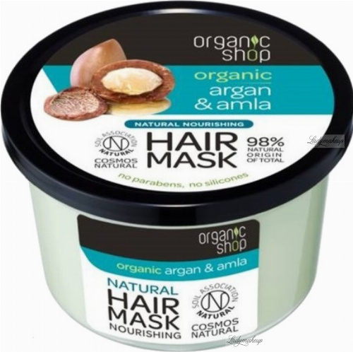 ORGANIC SHOP - Natural Nourishing Hair Mask - Maroccan Argan & Amla - Nourishing Hair Mask - Argan and Amla - 250 ml