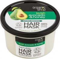 ORGANIC SHOP - Natural Repairing Hair Mask - Lavish Avocado & Honey - Naturalna odbudowująca maska do włosów - Awokado i miód - 250 ml