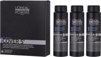 L'Oréal Professionnel - HOMME - COVER 5' - Żel do koloryzacji włosów dla mężczyzn - 3 x 50 ml - 3 - DARK BROWN - 3 - DARK BROWN