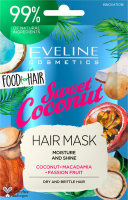 Eveline Cosmetics - Food for Hair - Moisture And Shine Hair Mask - Moisturizing mask for dry and brittle hair - Sweet Coconut - 20 ml