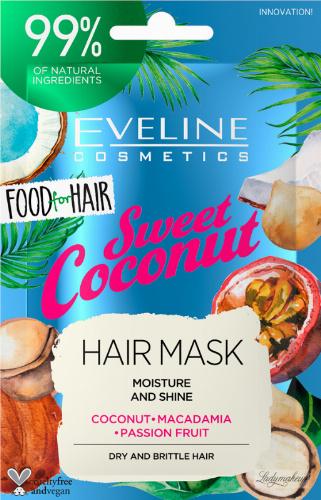 Eveline Cosmetics - Food for Hair - Moisture And Shine Hair Mask - Nawilżająca maska do włosów suchych i łamliwych - Sweet Coconut - 20 ml