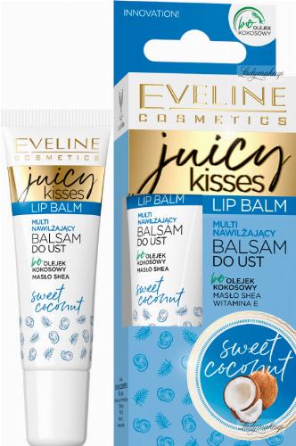 Eveline Cosmetics - JUICY KISSES - Lip Balm - Multi nawilżający balsam do ust - Kokos - 12 ml