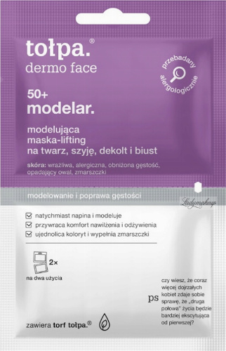 Tołpa - Dermo Face 50+ Modelar - Modelująco-liftingująca maska na twarz, szyję, dekolt i biust - 2 x 6 ml