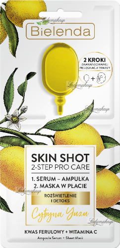 Bielenda - SKIN SHOT 2-STEP PRO CARE - Two-stage face care: serum + mask in a patch - (ILLUMINATION AND DETOX)- lemon
