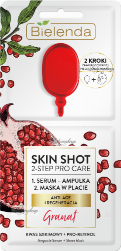 Bielenda - SKIN SHOT 2-STEP PRO CARE - Two-stage face care: serum + mask in a patch - (ANTI-AGE AND REGENERATION) - Pomegranate