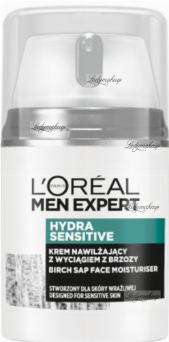 L'Oréal - MEN EXPERT - HYDRA SENSITIVE - Birch Sap Face Moisturiser - Nawilżający krem do twarzy z wyciągiem z brzozy dla mężczyzn - 50 ml