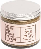 Mydlarnia Cztery Szpaki - Naturalny peeling do ciała - Róża i Baobab - 250 ml