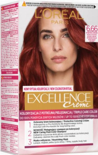 L'Oréal - EXCELLENCE Creme - Koloryzacja do włosów z potrójną pielęgnacją - 6.66 Intensywna Czerwień