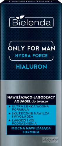 Bielenda - Only for Man Hydra Force - Hyaluron Moisturizing and Soothing Aquagel - Moisturizing and soothing facial aquagel for men - 50 ml