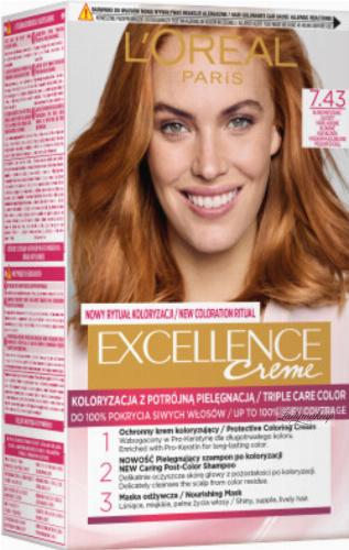 L'Oréal - EXCELLENCE Creme - Koloryzacja do włosów z potrójną pielęgnacją - 7.43 Blond Miedziano-Złocisty