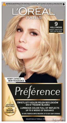 L'Oréal - Préférence - Permanent Haircolor 9 - HOLLYWOOD - VERY LIGHT BLONDE - Farba do włosów - Trwała koloryzacja - Bardzo Jasny Blond