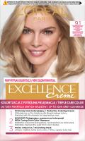L'Oréal - EXCELLENCE Creme - Koloryzacja do włosów z potrójną pielęgnacją - 9.1 Bardzo Jasny Blond Popielaty