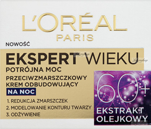 L'Oréal - EKSPERT WIEKU - Potrójna moc - Przeciwzmarszczkowy krem odbudowujący na noc - 60+