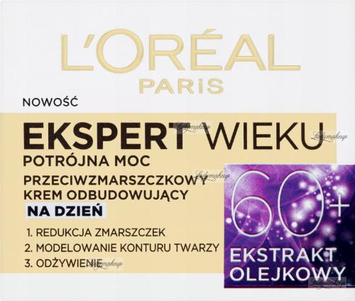 L'Oréal - EKSPERT WIEKU - Potrójna moc - Przeciwzmarszczkowy krem odbudowujący na dzień - 60+