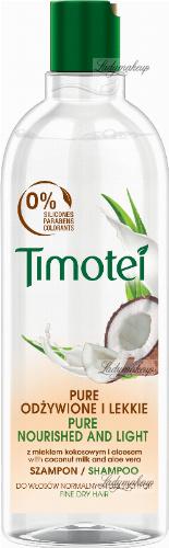 Timotei - Pure Nourished and Light Shampoo - Szampon do włosów normalnych lub suchych -  Mleko kokosowe i aloes - 400 ml
