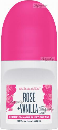 Schmidt's - Certified Natural Deodorant - Rose + Vanilla - Naturalny dezodorant w kulce - 50 ml