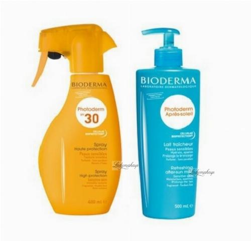 BIODERMA - Family set of sun care cosmetics - Photoderm Spray SPF30 400ml + Photoderm After-Sun Milk 500 ml