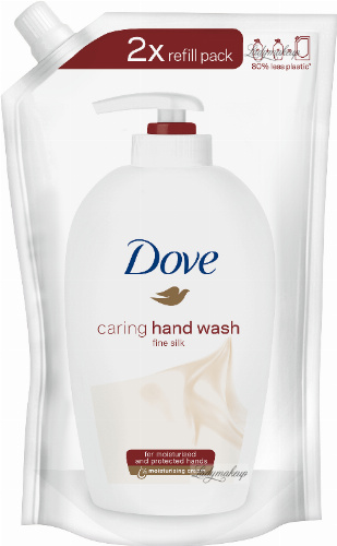 Dove - Caring Hand Wash Fine Silk - Pielęgnujące mydło w płynie z jedwabiem - Uzupełnienie - 500 ml