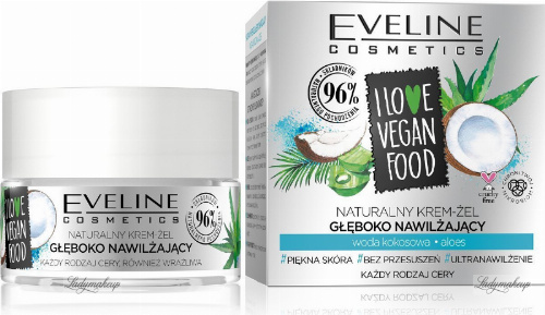 Eveline Cosmetics - I LOVE VEGAN FOOD - Naturalny, głęboko nawilżający krem żel - Woda kokosowa i Aloes - 50 ml