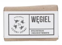 Mydlarnia Cztery Szpaki - Mydło naturalne z węglem aktywowanym - Węgiel - 110 g