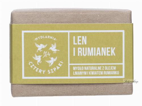 Mydlarnia Cztery Szpaki - Mydło naturalne z olejem lnianym i kwiatem rumianku - Len i Rumianek - 110 g