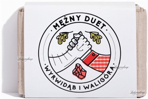 Mydlarnia Cztery Szpaki - Mężny Duet - Męski zestaw mydeł do pielęgnacji ciała, włosów i brody - Wyrwidąb i Waligóra - 2 x 110 g
