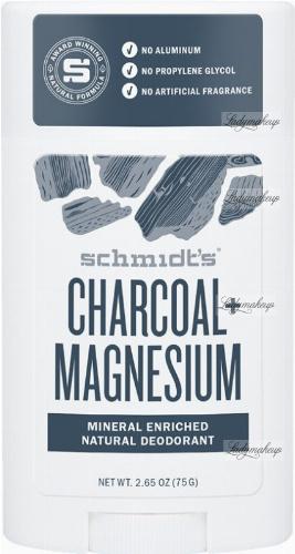 Schmidt's - Charcoal + Magnesium Natural Deodorant - Naturalny dezodorant w sztyfcie z węglem i magnezem - 58 ml