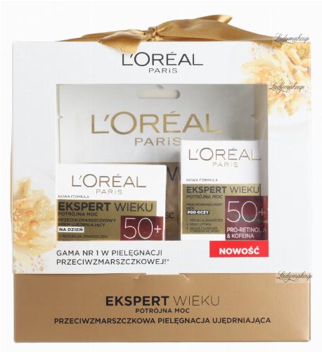 L'Oréal - EKSPERT WIEKU - Zestaw prezentowy kosmetyków do pielęgnacji twarzy - Krem Potrójna Moc 50+ na dzień + Potrójna moc 50+ Krem pod oczy + Maska w płacie