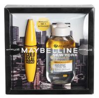 MAYBELLINE - Zestaw prezentowy kosmetyków - Tusz The Colossal + Garnier Płyn Micelarny z olejkiem 100 ml