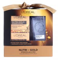 L'Oréal - NUTRI-GOLD - Zestaw prezentowy kosmetyków do pielęgnacji twarzy - Krem-olejek do twarzy 50 ml + Krem-maska na noc 50 ml + Płyn micelarny 200 ml