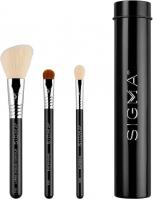 Sigma® - ESSENTIAL TRIO BRUSH SET - Set of 3 make-up brushes + mini tube - Black