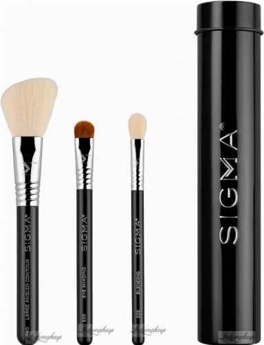 Sigma® - ESSENTIAL TRIO BRUSH SET - Zestaw 3 pędzli do makijażu + mini tuba  - Black