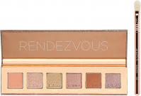 Sigma® - RANDEZVOUS EYESHADOW PALETTE + ROSE GOLD TRAVEL BRUSH - Palette of 6 eyeshadows + brush E25 - SET