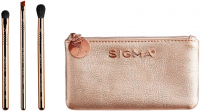 Sigma® - PETITE PERFECTION BRUSH SET - 3 MINI BRUSHES + BEAUTY BAG - Zestaw 3 mini pędzli do makijażu oka + kosmetyczka