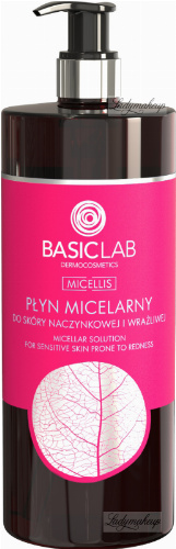 BASICLAB - MICELLIS - MICELLAR SOLUTION FOR SENSITIVE SKIN PRONE TO REDNESS - Micellar liquid for couperose and sensitive skin - 500 ml