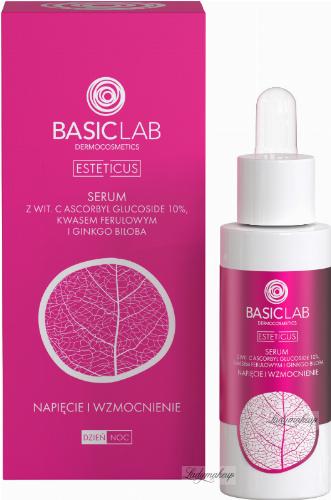 BASICLAB - ESTETICUS - Serum with vit. C ascorbyl glucoside 10%, ferulic acid and ginkgo biloba - Tension and strengthening - Day / Night - 30 ml