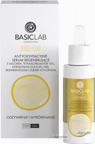 BASICLAB - ESTETICUS - Antyoksydacyjne serum regenerujące z ascorbyl tetraisopalmitate 10%, koenzymem Q10 0,5%, cbd, resweratrolem i olejem konopnym - Odżywienie i wyrównanie - Dzień/Noc - 30 ml