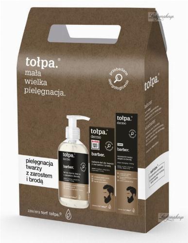 Tołpa - Dermo Barber - Zestaw do pielęgnacji twarzy dla mężczyzn - Żel do mycia twarzy z zarostem i brodą 150 ml + Balsam-żel do twarzy 75 ml + Olejek do brody 40 ml