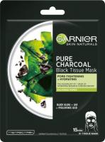 GARNIER - PURE CHARCOAL Black Tissue Mask - Oczyszczająca maska na tkaninie z węglem