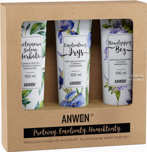ANWEN - Proteins, Emollients, Humectants - Set of medium porosity hair conditioners - Moisturizing Lilac, Emollient Iris, Protein Green Tea - 3x100 ml