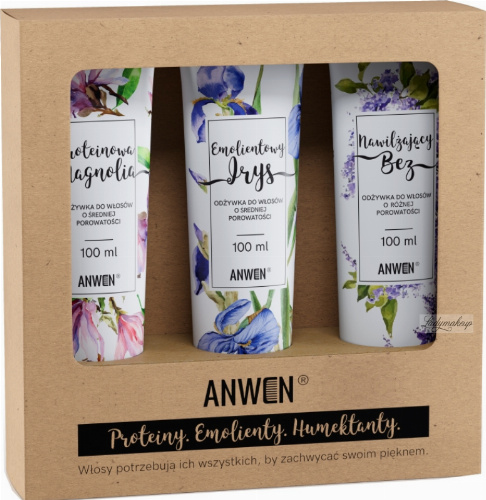 ANWEN - Proteins, Emollients, Humectants - Set of medium porosity hair conditioners - Moisturizing Lilac, Emollient Iris, Protein Magnolia - 3x100 ml