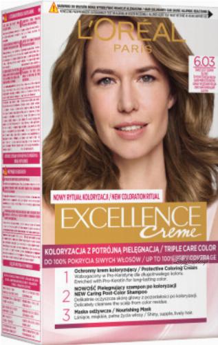 L'Oréal - EXCELLENCE Creme - Koloryzacja do włosów z potrójną pielęgnacją - 6.03 Świetlisty Ciemny Blond