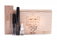 LashBrow - Gift set of cosmetics for make-up and eye care in a wooden box
