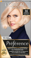 L'Oréal - Préférence - Permanent Haircolor 92 WARSAW - Hair dye - Permanent coloring - Very Light Beige and Pearl Blonde