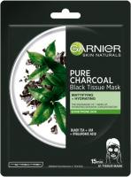 GARNIER - PURE CHARCOAL Black Tissue Mask - Oczyszczająca maska na tkaninie z węglem - Mantująco-nawilżająca