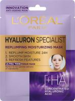 L'Oréal - HYALURON SPECIALIST REPLUMPING MOISTURIZING MASK - Nawilżająco-wypełniająca maska do twarzy w płacie