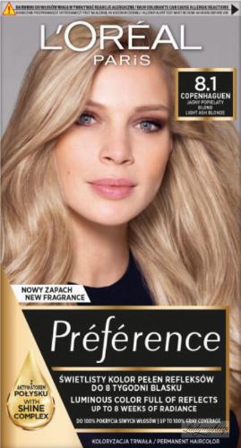 L'Oréal - Préférence - Permanent Haircolor 8.1 COPENHAGUEN - Farba do włosów - Trwała koloryzacja - Jasny Popielaty Blond