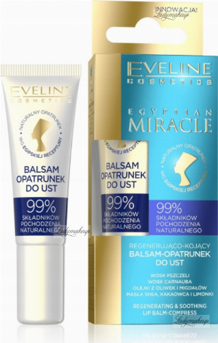 Eveline Cosmetics - EGYPTIAN MIRACLE LIP BALM COMPRESS - Regenująco-kojący balsam / opatrunek do ust - 12 ml