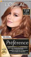 L'Oréal - Récital Préférence - 7.23 - BALI DARK ROSE GOLD - Farba do włosów - Trwała koloryzacja - Blond opalizująco-złocisty